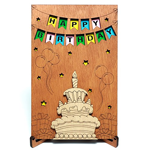 Happy Birthday Real Wood Greeting Card With Stand Best Handmade Wooden Gift Cute Present For Him Boyfriend Husband