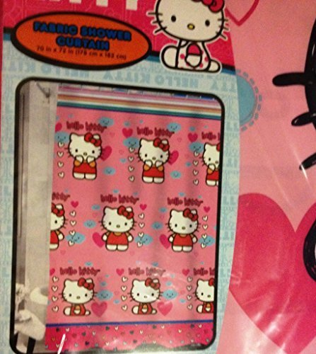 Hello Kitty Fluttering Hearts Fabric Shower Curtain