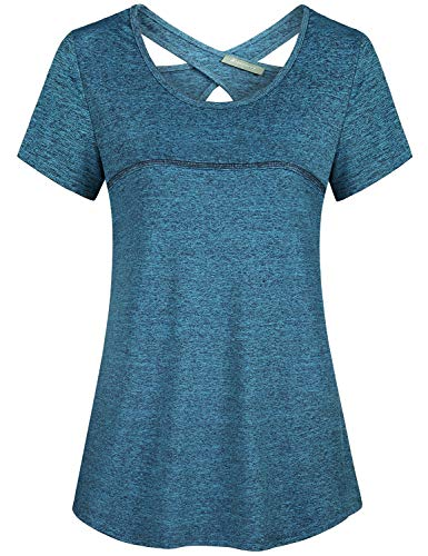Kimmery Sport Shirts for Women, Jersey Sexy Open Back Yoga Tops Loose Fit Sweet Wicking Scoop Neck Short Sleeve Fashion Work Out Tunics Active Fitness Casual Home Camping Athleisure Wear -