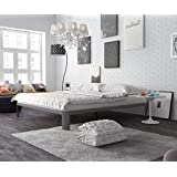 In Style Furnishings Modern Minimalist Low Profile Lunar Platform Bed with Metal Frame and Strong & Durable Slats - Queen, Grey