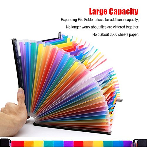 Expanding File Folder 24 Pockets Multi-Color Accordion Files Box A4 Document Organizer with Expandable Wallet Stand – Works on Legal Size and Letter Size by Huztl Photo #3