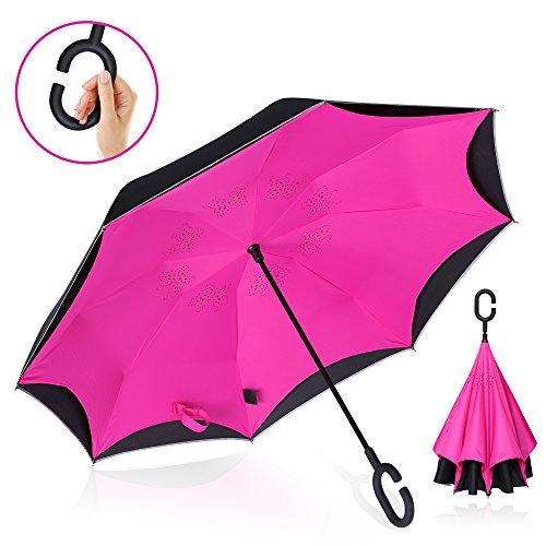 Vitchelo Inverted Umbrella with Hands Free C Handle. Windproof Double Layer Reverse Umbrellas with Fiberglass Ribs & Carbon Fiber Shaft Best for Travel, Golf, Rain & Car Use (Pink, 46) - Golf Umbrella Lightweight Fiberglass