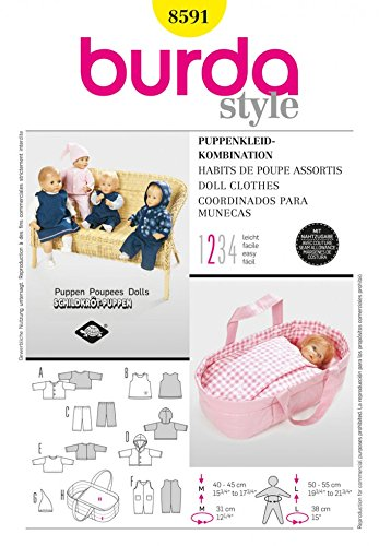 Burda Craft Easy Sewing Pattern 8591 Doll Clothes & Baby Tote Carrier