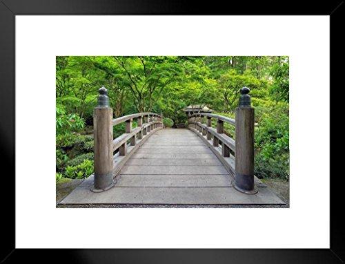 (Poster Foundry Japanese Garden Bridge Portland Oregon Photo Art Print Matted Framed Wall Art 26x20 inch)
