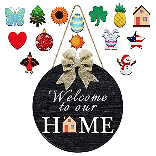 bestheart Welcome Sign for Front Door, Sign Front Porch Door Decor, Spring Summer Rustic Round Wooden Hello Sign,Hanging Décor for Outdoor (I)