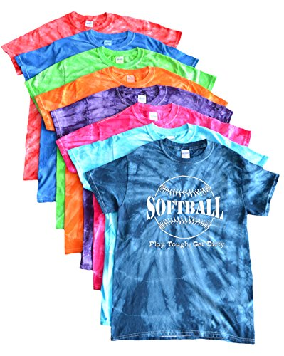 Tough Logo Tee (JANT girl Softball Tie Dye T-Shirt -Play Tough, Get Dirty Large White Logo (Navy, XL))
