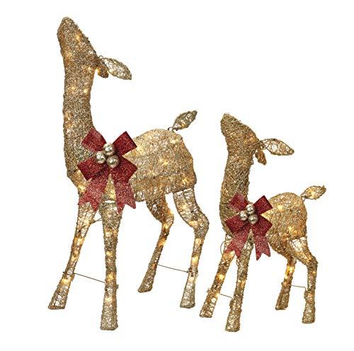 NOMA Pre-Lit Light Up Glitter Deer Set | Christmas Holiday Lawn Decoration | Indoor/Outdoor | 2.8' & 2' Feet Set | 2 Pack (Christmas Outdoor Lights Reindeer)