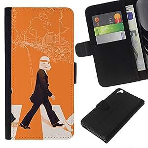 HTC Desire 820 - Dibujo PU billetera de cuero Funda Case Caso de la piel de la bolsa protectora Para (Lennon Storm Trooper - Pop Art)