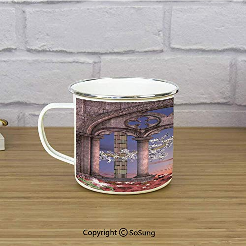 - Gothic Enamel Camping Mug Travel Cup,Ancient Colonnade in Secret Garden with Flowers at Sunset Enchanted Forest,11 oz Practical Cup for Kitchen, Campfire, Home, TravelGrey Blue Lilac Red