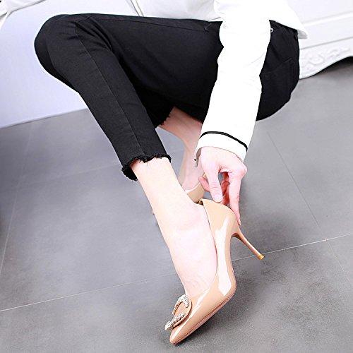 SSBY Un 8 5 Cm Zapatos De Tacon Alto Con Una Multa Superficial Boca Moda Zapatos Nueva Sexy Rhinestone Pintura Nude color