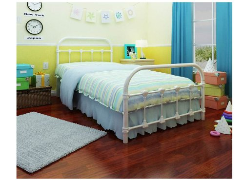 amazoncom rack furniture lindsay twin bed white kitchen dining - Twin Bed Frames For Kids