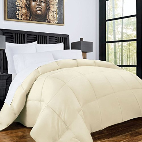 Zen Bamboo Luxury Goose Down Alternative Comforter – All Season Hotel Quality Hypoallergenic Duvet Insert with Cooling Bamboo Blend Fabric – King and Cal King – Ivory