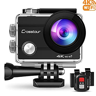 Crosstour Action Camera 4K 16MP WiFi Underwater Camera with Remote Control 30M IP68 Waterproof Case
