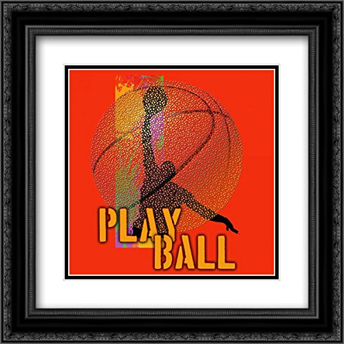 - Play Ball - Basketball 15x15 Black Ornate Frame and Double Matted Art Print by Baldwin, Jim