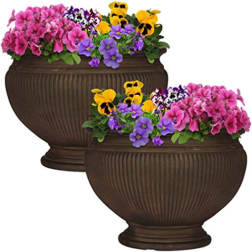 (Sunnydaze Elizabeth Ribbed Urn Flower Pot Planter, Outdoor/Indoor Extra-Durable Double-Walled Polyresin, UV-Resistant Rust Finish, Set of 2, 16-Inch Diameter)