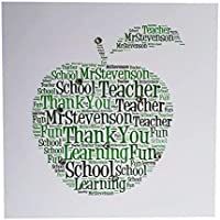 TEACHER THANK YOU CARD PERSONALISED - Handmade designed wordart apple thank you card. Personalise word art apple shape with your own words. Celebrate end of school with child and teacher. FREE POSTAGE