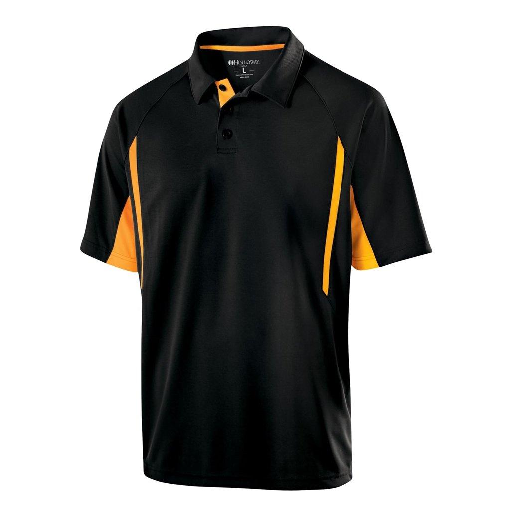 Holloway Dry Excel Avenger Polo (Small, Black/Light Gold)