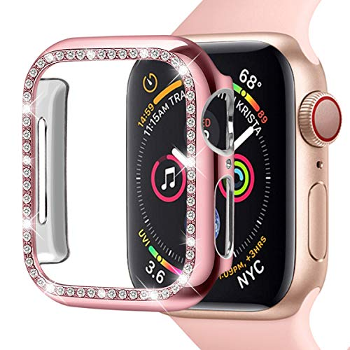 Leotop Compatible with Apple Watch Case 40mm 44mm, PC Plated Hard Bumper with Bling Diamonds Crystal Shiny Glitter Cover Frame Compatible iWatch Series 4 for Women (Rose Pink, 40mm) ()