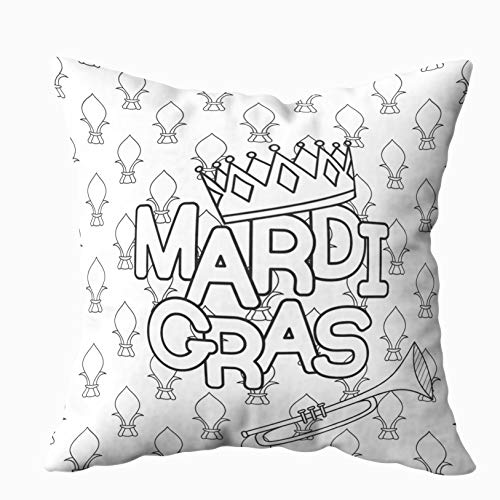 KIOAO 20x20 Pillow Case, Standard 20X20Inch Soft Square Throw Pillowcase Covers Mardi Gras Coloring Page Adult Coloring Book Tuesday Printed with Both Sides