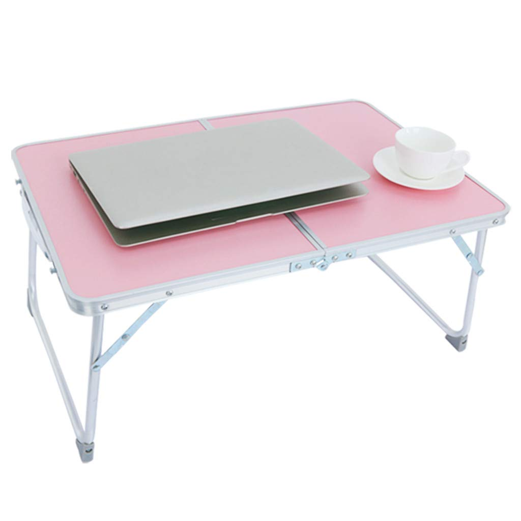 Gallity Foldable Laptop,Breakfast Bed Serving Tray Bed Desk, Portable Picnic Desk, Aluminum Alloy Notebook Stand Reading Holder,Folds in Half with Inner Storage Space -Shipped by US (Pink)