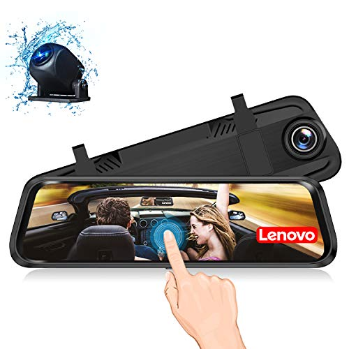 Lenovo Mirror Dash Cam,Backup Camera 9.66 Inch Mirror Dash Screen,1080P Cam Touch Full Screen Rearview Front and Rear Dual Lens,Waterproof Full HD Camera Touch Screen HR06A
