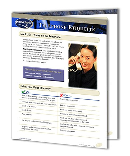 Telephone Etiquette Guide - Customer Service and Business Productivity Training Guide - 4-page Laminated Quick Reference Guide by Permacharts