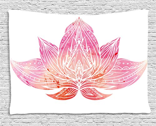 Lotus Tapestry by Ambesonne, Pink Lotus Flower with Ornaments