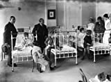 New York Post-Graduate Medical School and Hospital Nurses, doctors, and others with children in beds. Vintage 8x10 Photograph - Ready to Frame