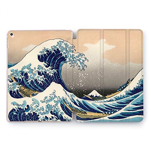 Wonder Wild Great Wave Print Case IPad 9.7 2017 A1822 A1823 2018 A1893 A1954 Air 2 A1566 A1567 6th Gen Clear Design Smart Hard Cover Sea Texture Ocean Watercolor Splash Blue Painted Famous Artist