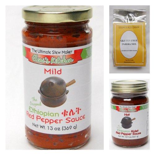 Eleni's Ethiopian Gluten Free Sampler Pack - 2 Jars Sauce, 1 Injera Mix by Eleni's Kitchen