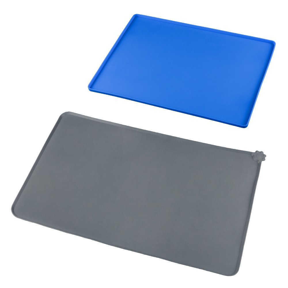 FUNBAKY Silicone Pet Mat Feeding Tray - Waterproof Cushion for Holding Cats Dogs' Bowls Food Mat BPA Free Set of 2