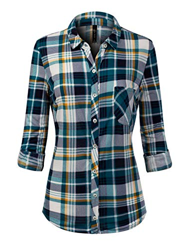 Instar Mode Women's Checkered Plaid Roll Up Sleeve Stretch Knit Button Down Shirt Teal/Navy (Teal Plaid Flannel)