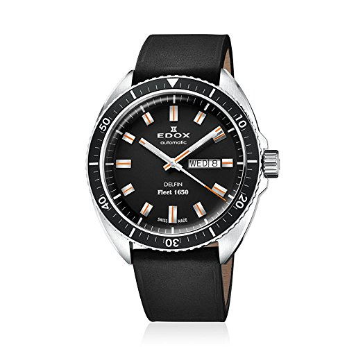 Edox Men's 'Delfin' Swiss Automatic Stainless Steel and Leather Diving Watch, Color:Black (Model: 88004 3 NIN)