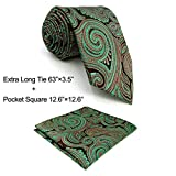 Shlax&Wing Unique Red Green Paisley Mens Necktie Ties For Men Set Wedding 57.5'' 63''