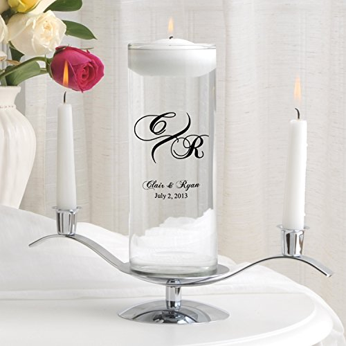 Personalized Floating Wedding Unity Candle - Personalized Wedding Candle - Includes Stand - Marquis -