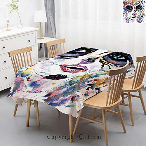 Wedding Party,Allover Print Christmas Fabric Tablecloth,Holly Berry Xmas Print Cloth Tablecloth,55x87 Inch,Sugar Skull Decor,Halloween Girl with Sugar Skull Makeup Watercolor Painting Style Creepy Dec -
