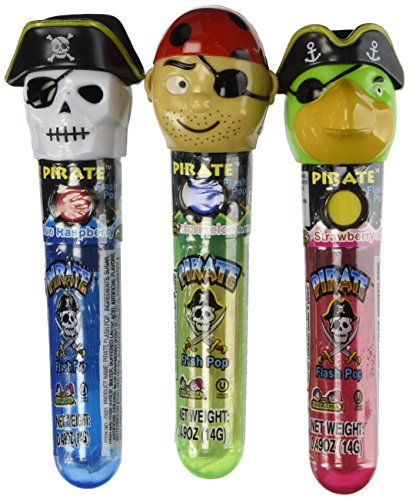 (Kidsmania Pirate Flash Pops Novelty Lollipop Suckers 12 Count Box)