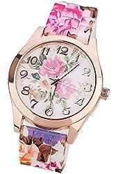 Suppion Women Silicone Printed Flower Causal Quartz Wrist Watches Hot Pink