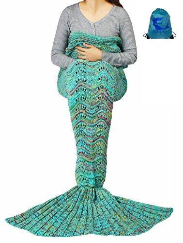 [Junpro Mermaid Tail Blanket for Adult Kids Soft HandCrochet Sleeping Bag for Girls Women in Sofa Bed Living Room (Kids, Wave -] (Creative Team Costume Ideas)