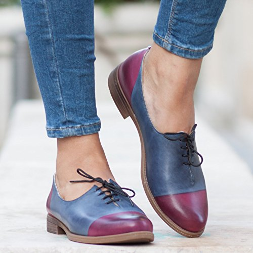 Blue Handmade Leather Women's Oxford Shoes by Bangi Shoes