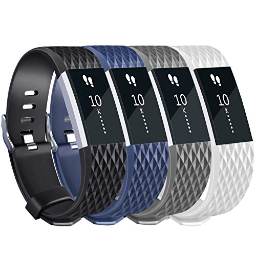 Tobfit Sport Silicone Bands Compatible for Fitbit Charge 2 Classic & Special Edition, 4 Pack, White/Black/Blue/Grey, Large