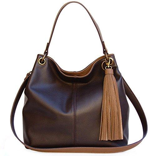 Tasseled Hobo Handbag - Handmade Leather Hobo Handbags Large Brown Women