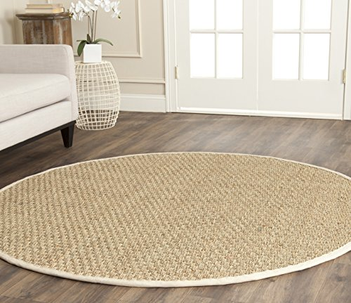 Safavieh NF114J-3R Fiber Collection Natural and Ivory Seagrass Round Area Rug, 3'