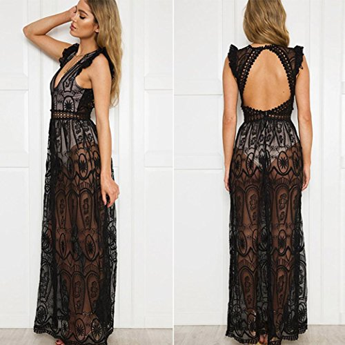 Bekleidung Longra Damen Sommerkleid Strandkleid Hollow Out spitzenkleid Elegant Cocktailkleid Abendkleid ärmellose Backless lange Maxi Kleider Black