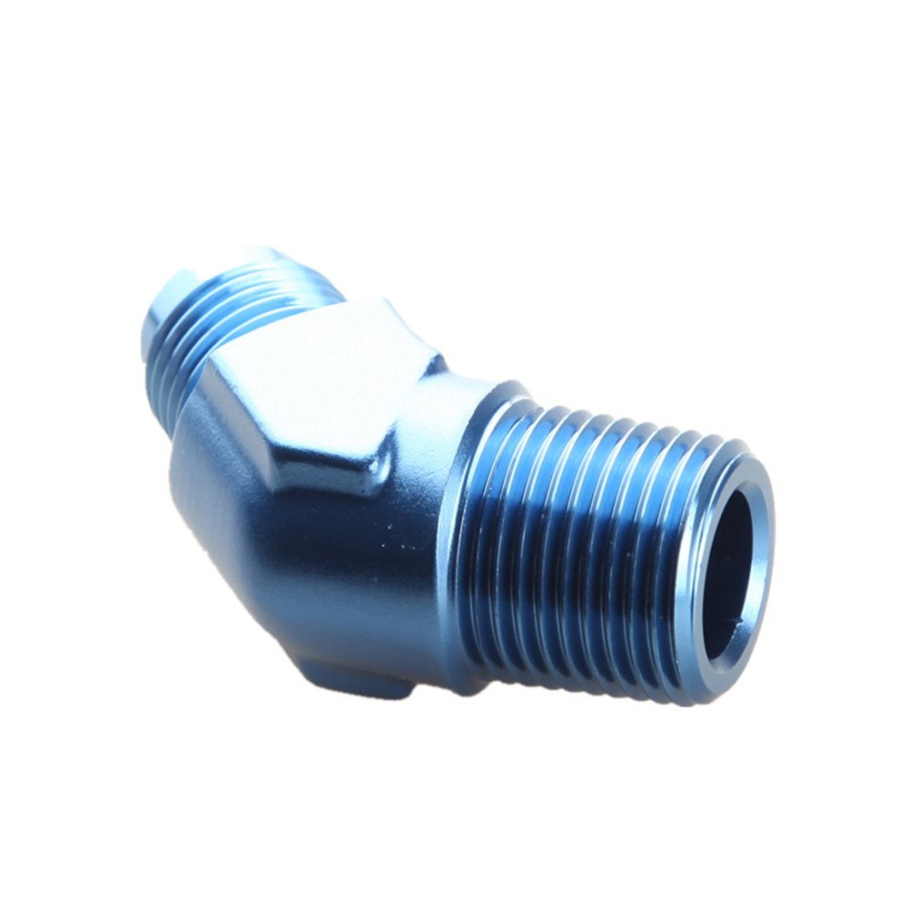 4AN AN4 Male To 1//8 NPT 45 Degree Flare Adapter Fitting Blue