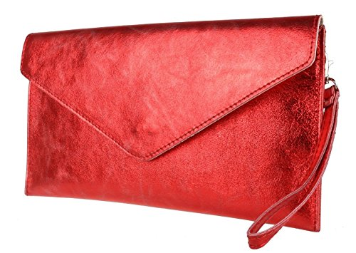 Verapelle Womens Womens Bag Red Italian Suede Envelope NEW Metalic Rebecca Clutch Genuine Ladies Shaped Clutch qzBdn858w
