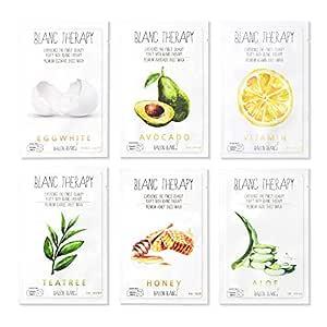 Ballon Blanc Therapy Face Facial Masks Sheet Infused With Aloe,TeaTree, Avocado,Vitamin,Honey & EggWhite 6 Nutritional Mask Korean Skin Care