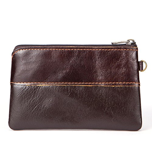 Men's Coin Purse Fmeida Leather Slim Wallet Zipper Change Purse Coffee Money Pouch