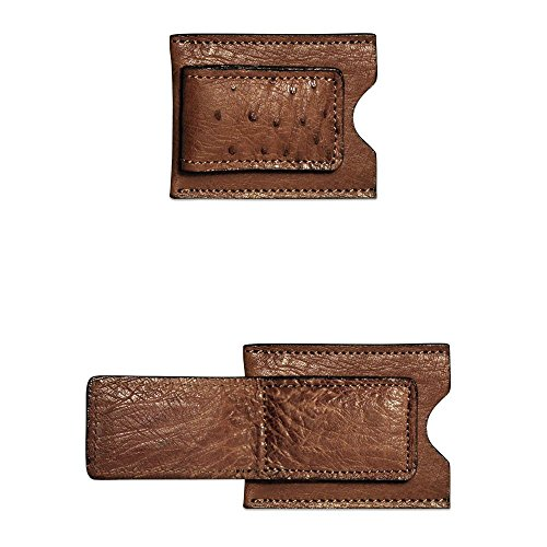 Jack Georges Ostrich Collection Card Holder with Money Clip (BROWN)