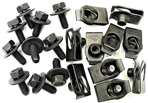 Retro-Motive Mazda Body Bolts & U-nut Clips- M6-1.0mm x 16mm Long- 10mm Hex- 20 pcs- - Clips 20 Body